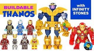 Thanos Infinity Stones Brick Build w/ Iron Man Hulkbuster BigFig Unofficial LEGO Minifigures