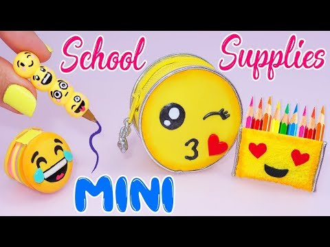 😍DIY: Miniature EMOJI School Supplies ( Backpack, Notebook, Pen, Pencil case) REALLY WORKS😍