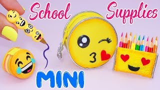 😍DIY: Miniature EMOJI School Supplies ( Backpack, Notebook, Pen, Pencil case) REALLY WORKS😍