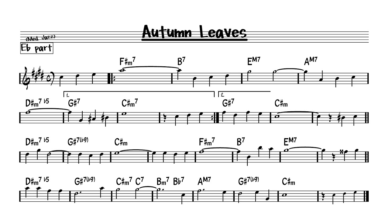 Autumn Leaves G minor version - Play along - Eb version