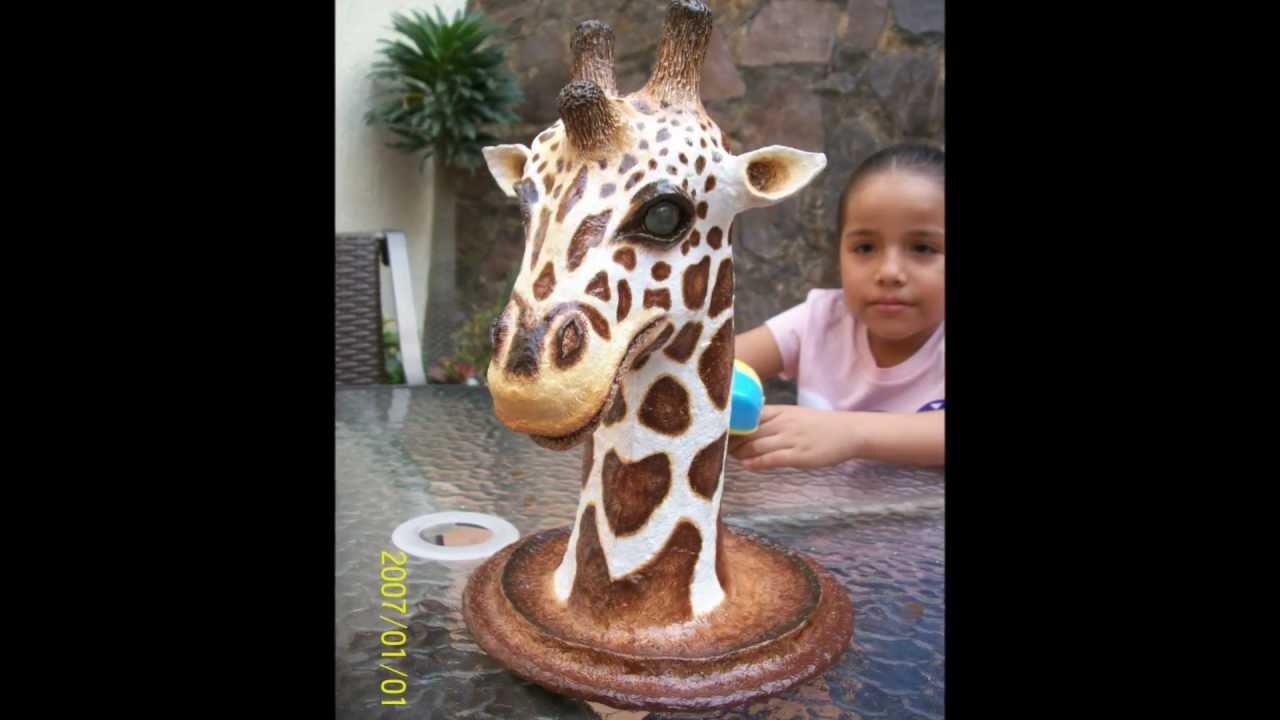 Jirafa de papel mache youtube for Animales de plastico para jardin