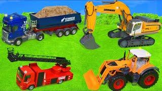 Pelleteuse, camion , Camion de pompier, voiture de police, trains jouets pour enfants Excavator Toys