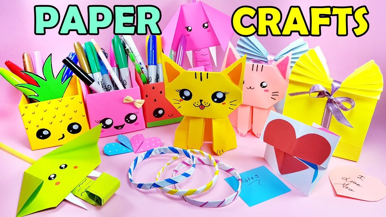 9 COOL PAPER CRAFT IDEAS - Kawaii Pencil Holder, Cat, Endless Card, Bracelet and more..
