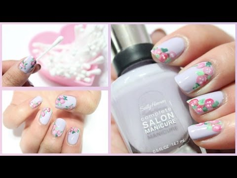 Easy Floral Nails Using Q Tips Youtube