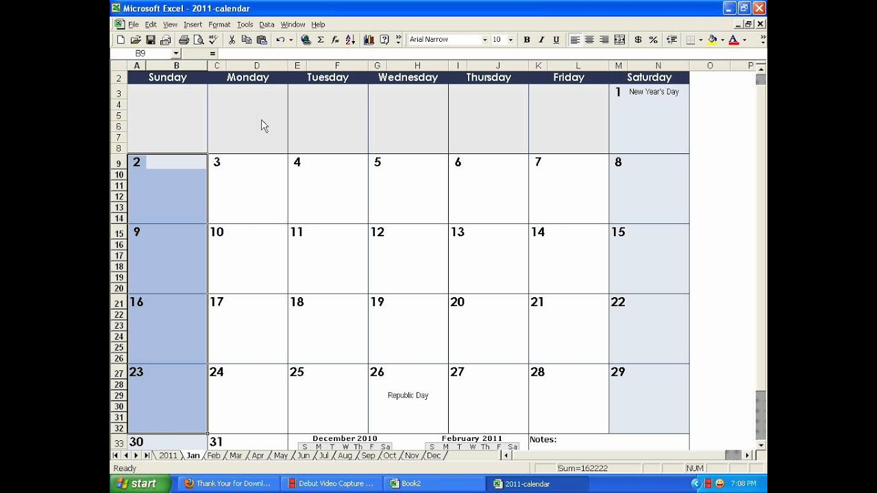 how to make a calendar in excel youtube