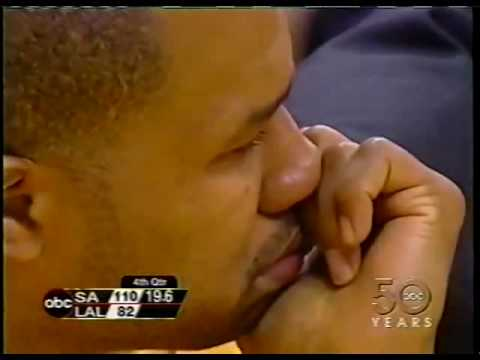 Spurs Beat Lakers.  Derek Fisher, Kobe Bryant Crying.  2003.