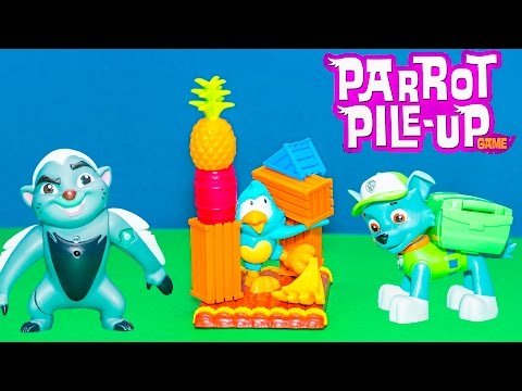 Playing Parrot Pile Up Game with Lion Guard Bunga vs Paw Patrol Toys