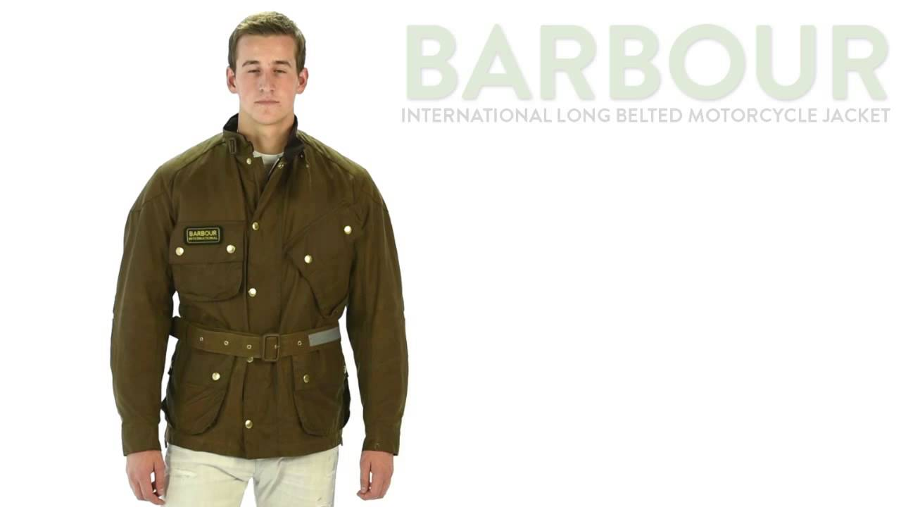 Summer Motorcycle Jacket >> Barbour International Long Belted Motorcycle Jacket - Waxed Cotton (For Men) - YouTube