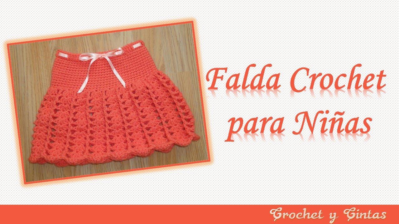 08a7e97f6 Falda para niña tejida a crochet (ganchillo) con abanicos y punto relieve