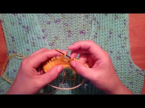 Как связать в образный вырез горловины спицами видео