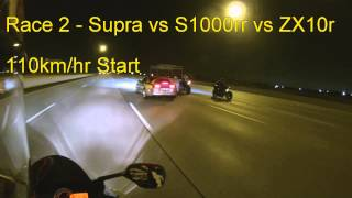1400hp Supra vs Bikes - S1000rr - ZX10r - Highway Pull