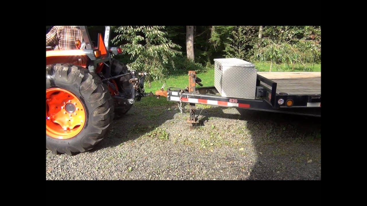 Demonstrating my 3 point trailer hitch on my Kubota MX5100HST