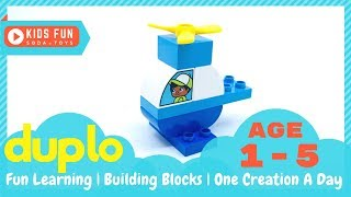 Let's build a helicopter! Kids fun learning block building | build and play | LEGO duplo