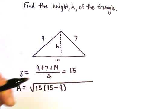 Heron S Formula To Find Height Of A Triangle Youtube