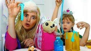 Принцессы играют с новым другом. Princess Nastya Play