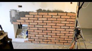 🔥Cz.1-Ściana Tv Wand z surowej cegły imitacja ściany z cegły bez tynku w bloku z betonu.Kawalerka