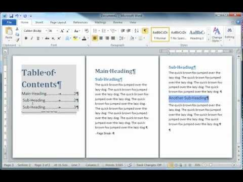how to put table of contents in word 2010