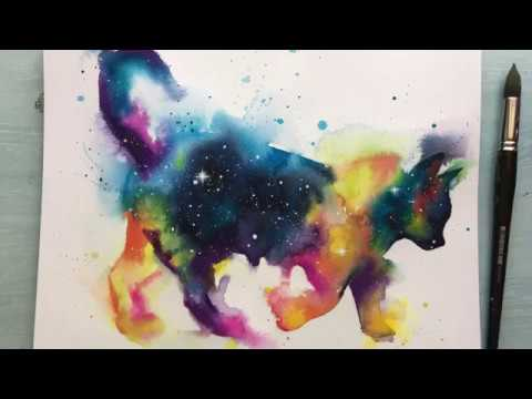 How to paint a watercolour galaxy cat, wet on wet technique speed painting + voiceover