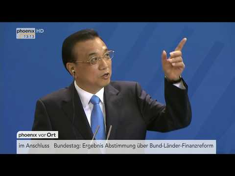 Ausschnitte aus der Pressekonferenz von Angela Merkel und Li Keqiang am 01.06.17