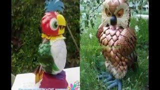 Очаровательные птицы из пластиковых бутылок для украшения дачи