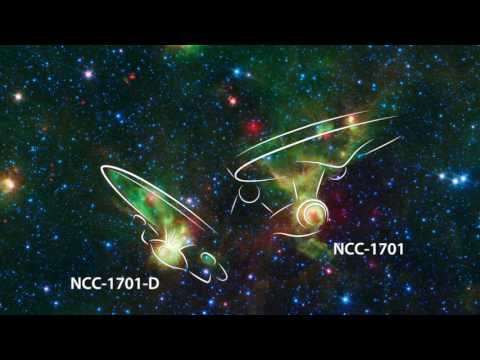 'Enterprise' Nebulae Seen by Spitzer Space Telescope (annotated)