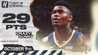 Zion Williamson EPIC Full Highlights vs Chicago Bulls (2019.10.09) - 29 Points!