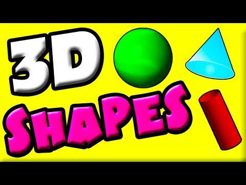 Learn 3D Shapes for Kids  Three Dimensional Shapes  Kindergarten Math  1st Grade Math  3d Shapes