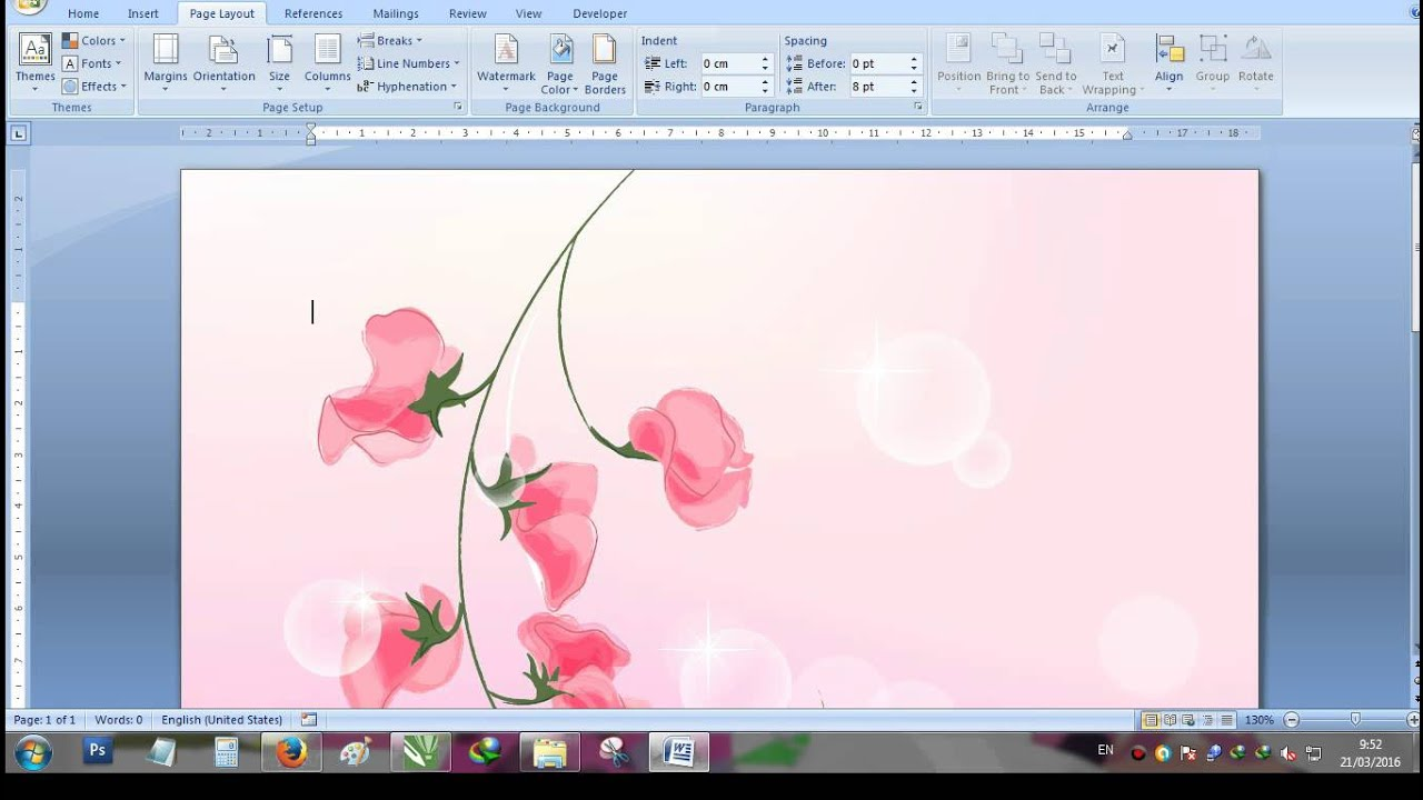 Cara membuat background di Microsoft Word - YouTube