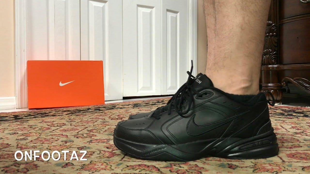 92fd8178c1246 Nike Air Monarch Triple Black On Foot - YouTube