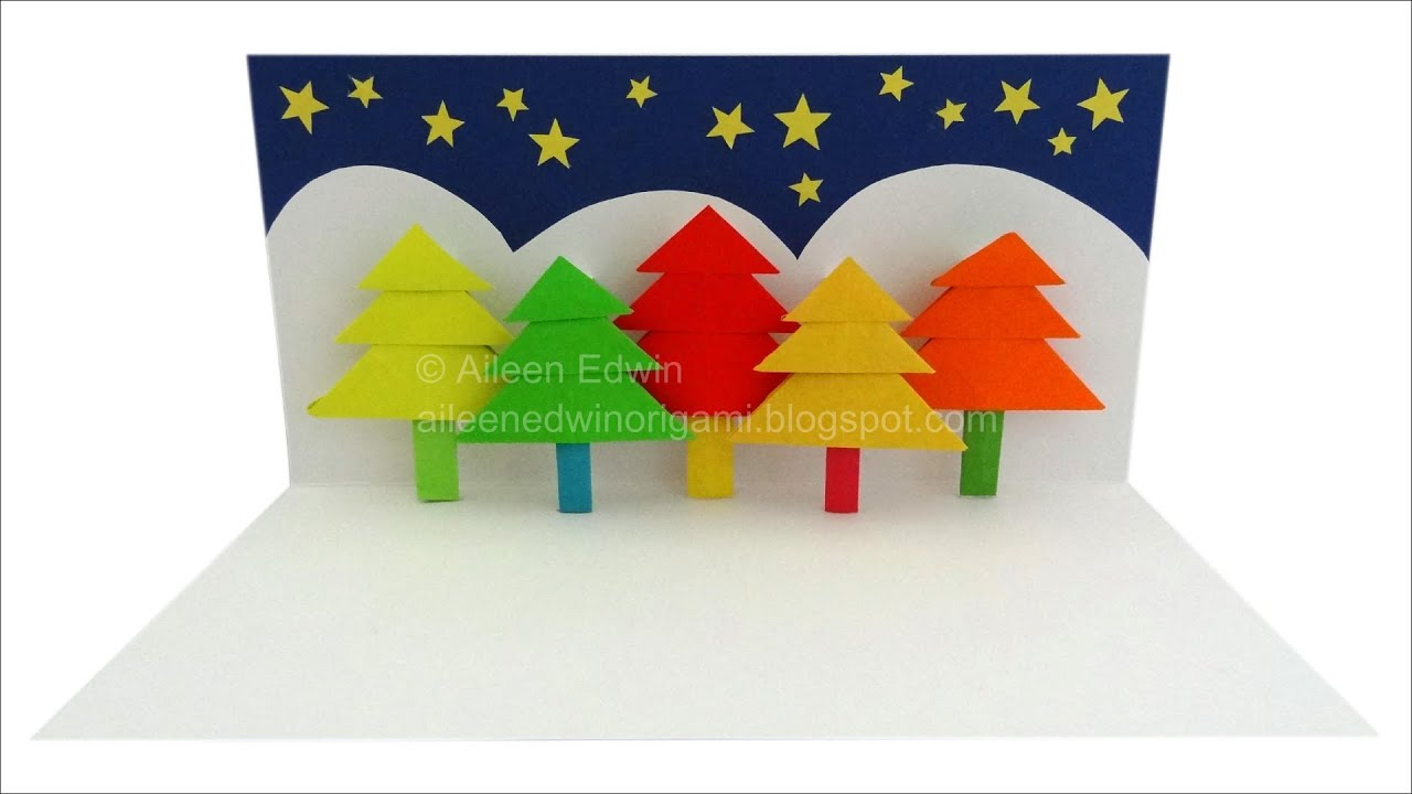 Origami Pop-Up Christmas Tree Card Video Tutorial *HD* - YouTube