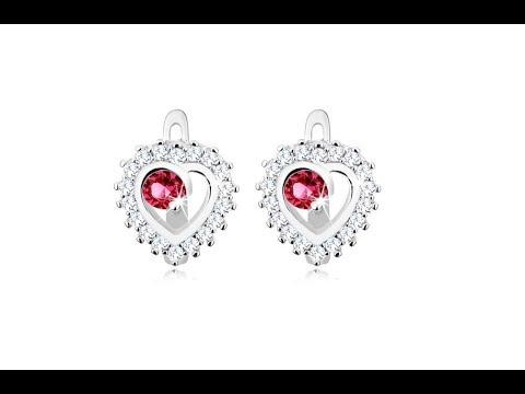 9c0c52952 Šperky - Strieborné náušnice 925, číry obrys srdiečka, okrúhly tmavoružový  zirkón