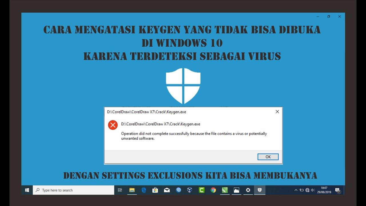 Cara Mengatasi Keygen Coreldraw Yang Tidak Bisa Di Buka Karena Terdeteksi Virus Windows 10 Youtube