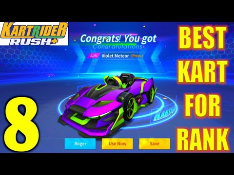 BEST KART FOR RANK (VIOLET METEOR) KARTRIDER RUSH+ GAMEPLAY ANDROID/IOS