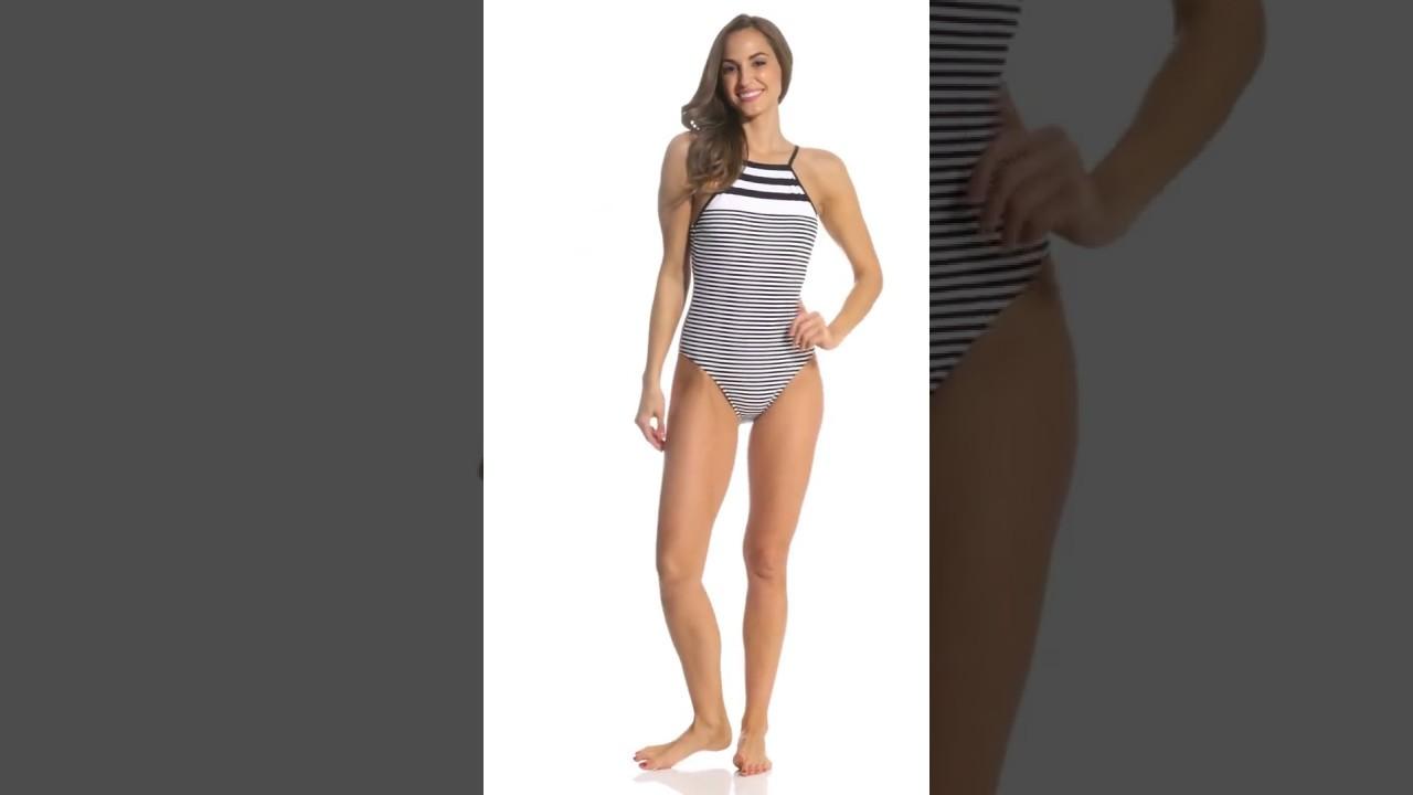 27a90ed2c1128 Lauren Ralph Lauren Modern Marine High Neck One Piece Swimsuit |  SwimOutlet.com
