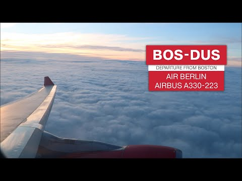 FULL TAXI, TAKE OFF AND CLIMB | airberlin A330 Evening Departure from Boston Logan