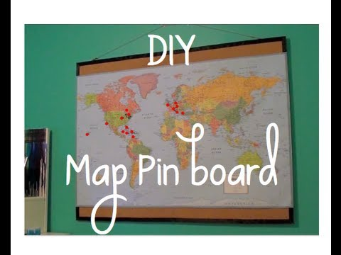 Diy map pinboard youtube diy map pinboard gumiabroncs Image collections