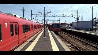 [名鉄電車]津島線佐屋駅を発車する3500系youTuber東海オンエアラッピング車両と6800系