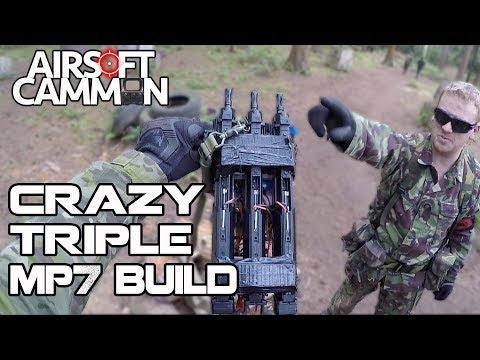 Crazy Airsoft Triple MP7 DIY Build - Silverback SRS Sniper Scopecam Gameplay