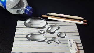How to Draw 3D Water Drops on Line Paper - Easy Trick Art - 3D Art for Kids