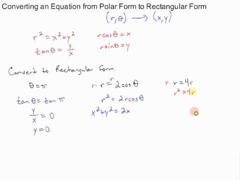 converting an equation from polar form to rectangular form - YouTube