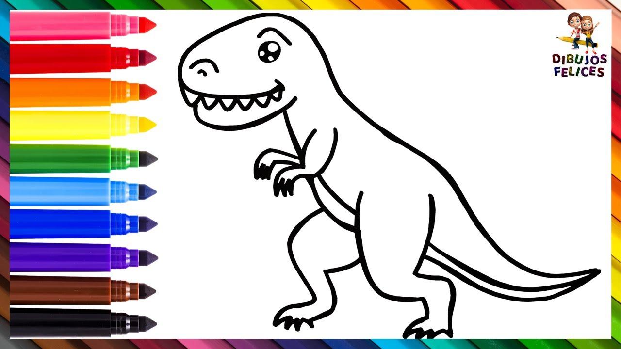 Cómo Dibujar Un T-REX 🦖 Dibuja y Colorea Un Lindo Dinosaurio Arcoiris 🌈 Dibujos Para Niños