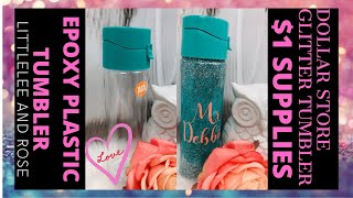 How to Glitter a Dollar Store Tumbler Water Bottle with $1 Supplies