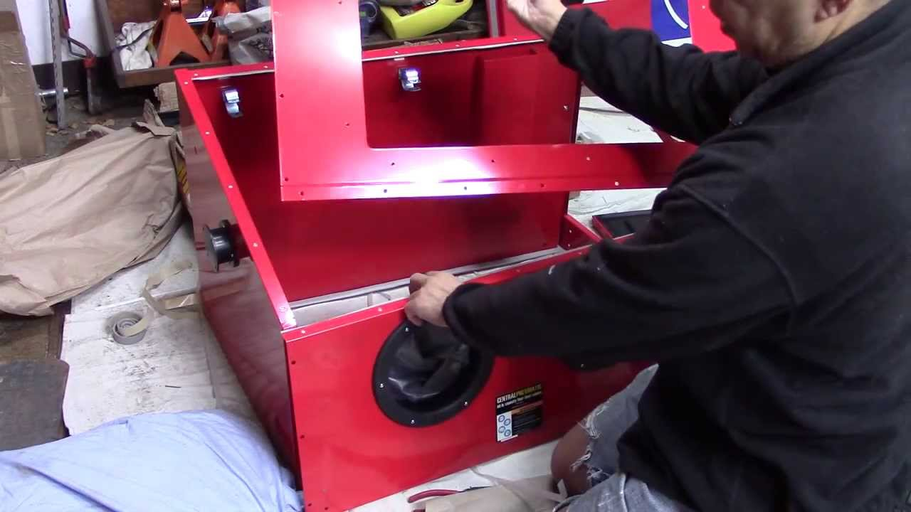 Harbor Freight 40lb Blast Cabinet Assembly and Review - YouTube