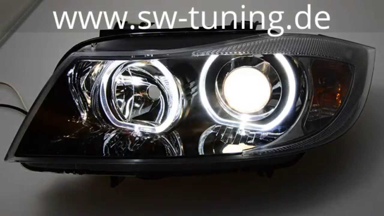 angel eye scheinwerfer f r bmw e90 e91 05 08 high led. Black Bedroom Furniture Sets. Home Design Ideas