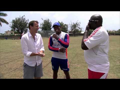 England fast bowler Chris Jordan visits his old school in Barbados