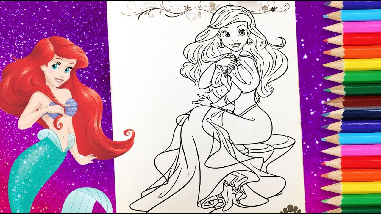 Princess Ariel Coloring Book Little Mermaid Colouring Pages Youtube