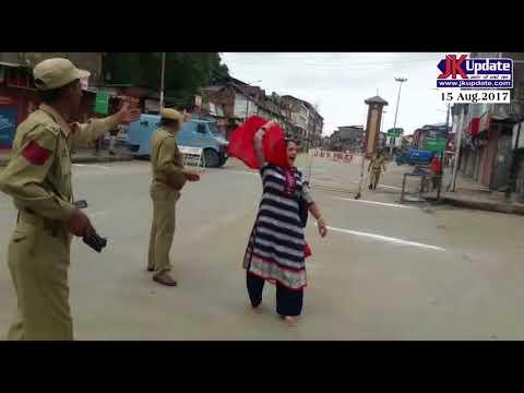 A Kashmiri Lady Chanting Bharat Mata Ki Jai Slogan In Lal Chowk Srinagar