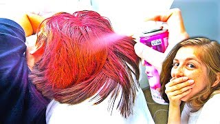 DYED MY BOYFRIEND'S HAIR PRANK! (HOT PINK)