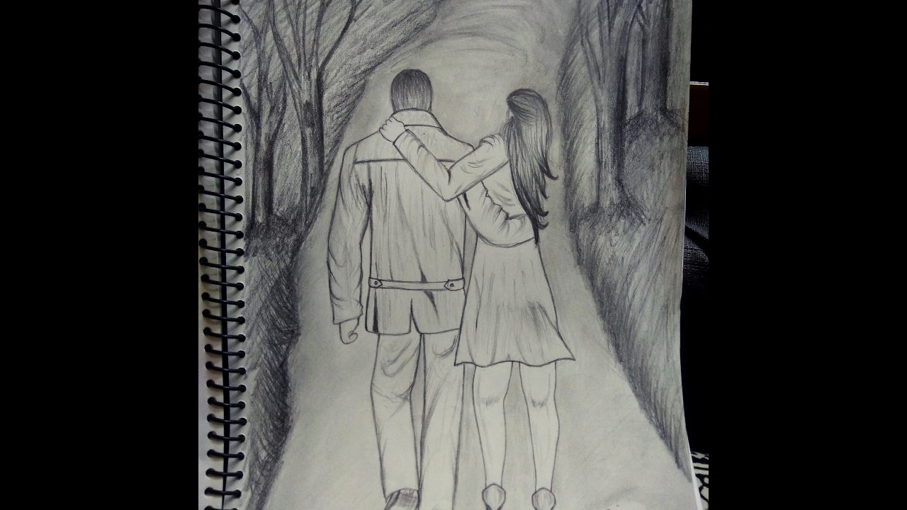 How to draw a romantic couple holding hands
