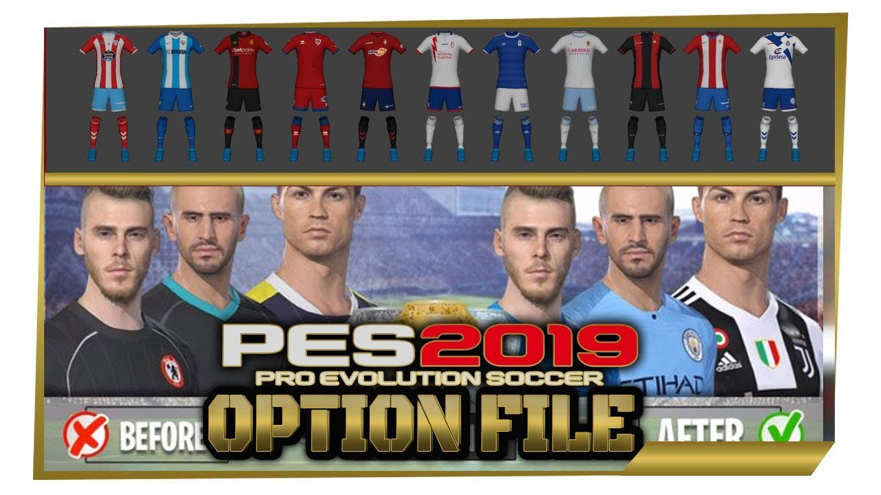 PES 2019 OPTION FILE, CORRECT TEAM KITS, NAMES, BADGES, MANAGERS & MORE!  (PS4)